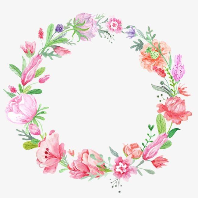 Marco de flores en colores rosas, verdes y lilas