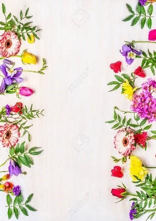 Marco de flores combinado con amarillo
