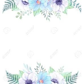 Marco de flores en tonos verdes, lilas y azulejos