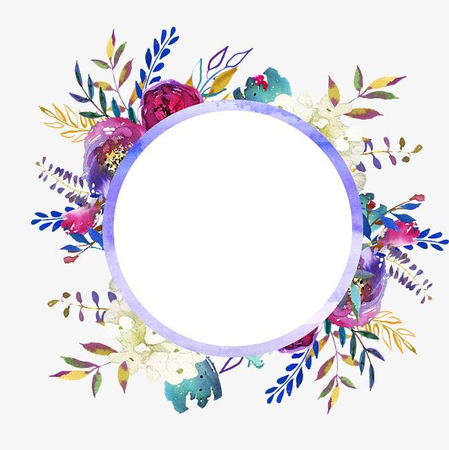 Marco circular de flores de colores