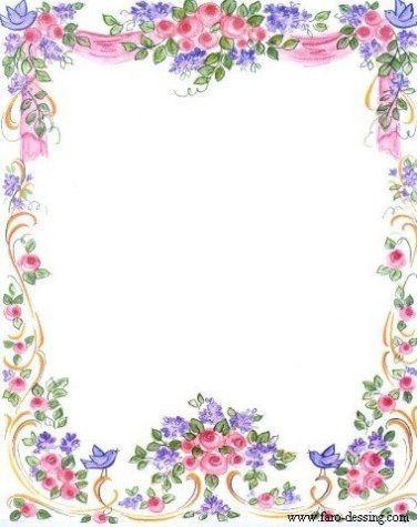 Marco de flores en combinaciones rosas y lilas