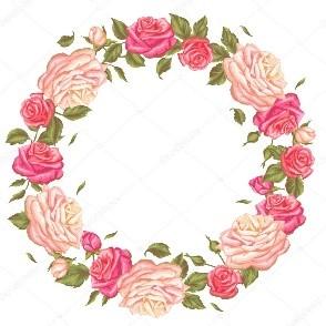 Marco circular con flores rosadas