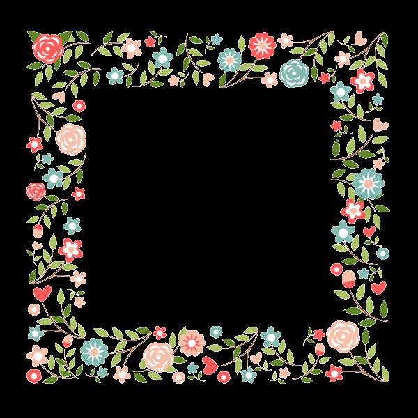 Marco con diversos estilos florales