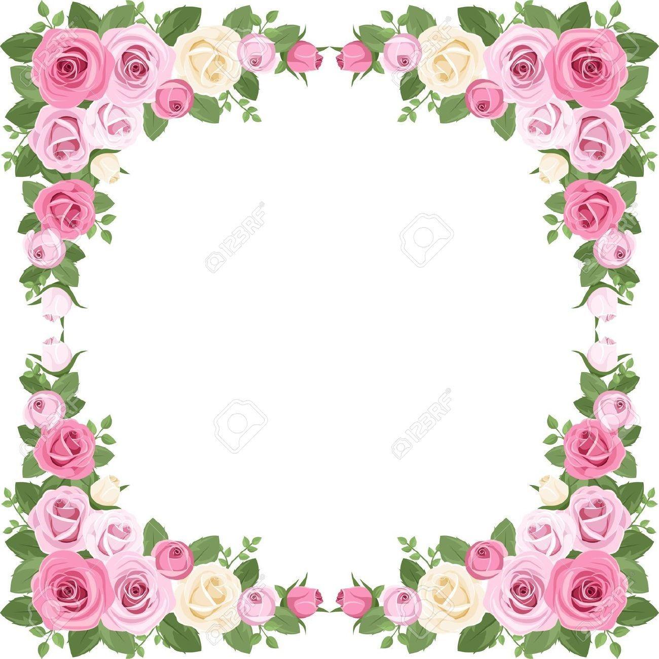 Marco de flores clásico en color fucsiaMarco de flores clásico en color fucsia