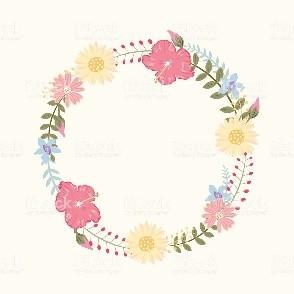 Marco circular con flores de colores variados