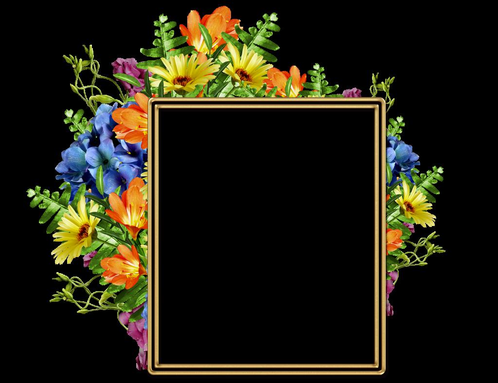 Lindo Marco Para Fotos Con Diversas Flores Bonitas PNG