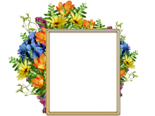 Lindo marco para fotos con diversas flores bonitas