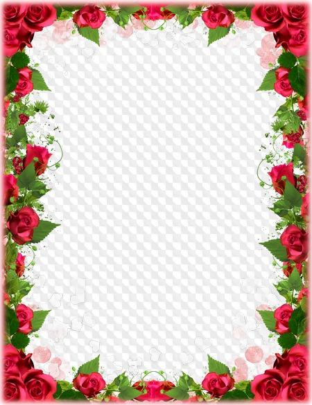 Marco de rosas para fotos en PNG