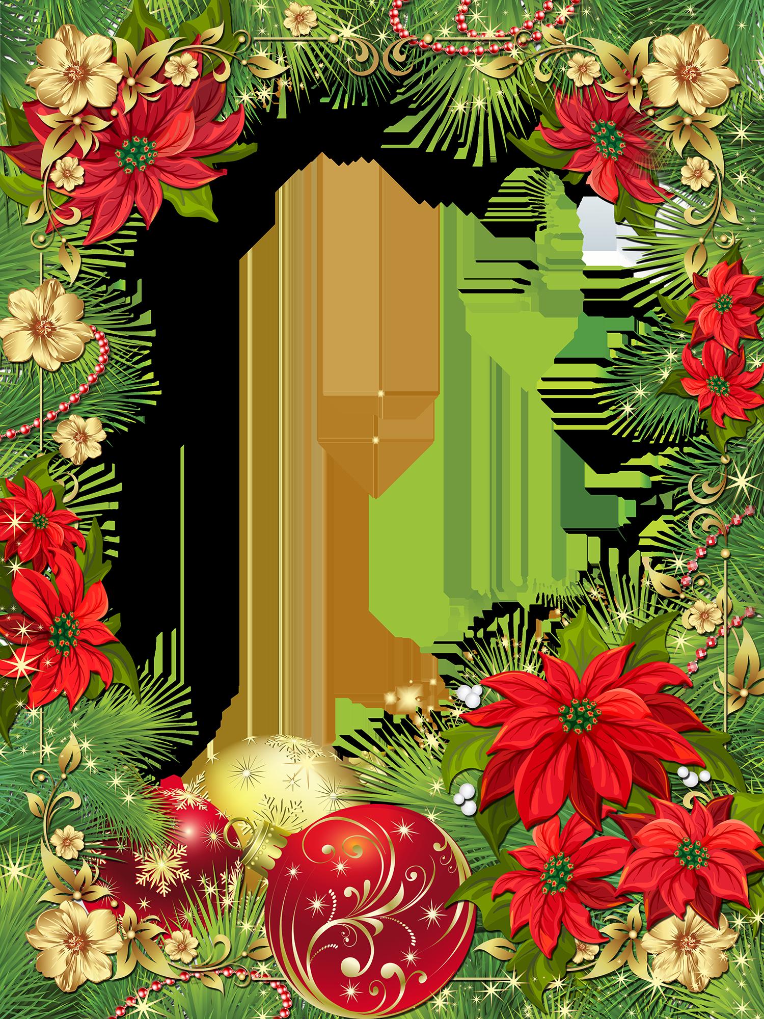 Marco De Fotos Para Navidad Con Flores Rojas Marco De Flores Png