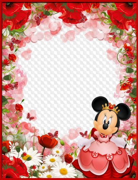 Fondo Con Mini De Disney Y Flores Para Niñas Marcos Para Niñas