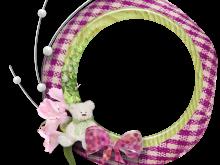 Marco de Foto redondo con flores y un osito