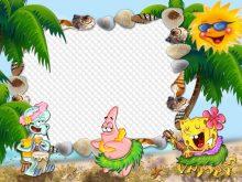 Marco de cumpleaños de niños con bob esponja