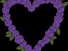 Marco de flores moradas en corazón