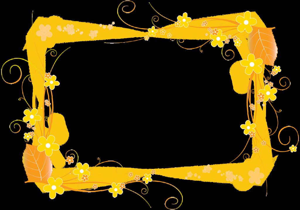 Marco de foto con flores amarillas PNG