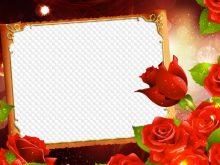 Marco de foto con rosas rojas